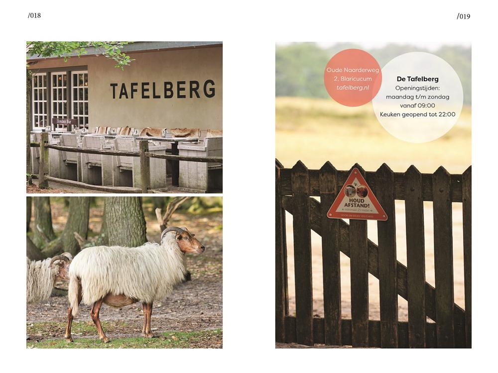 Een spread uit het Bier en Appelsap Wandelboek met foto's van restaurant de Tafelberg.