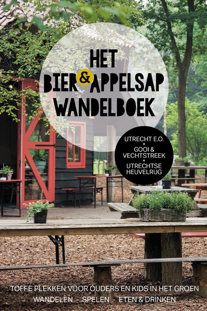 De cover van het wandelboek, met een koffiehuisje in de bossen