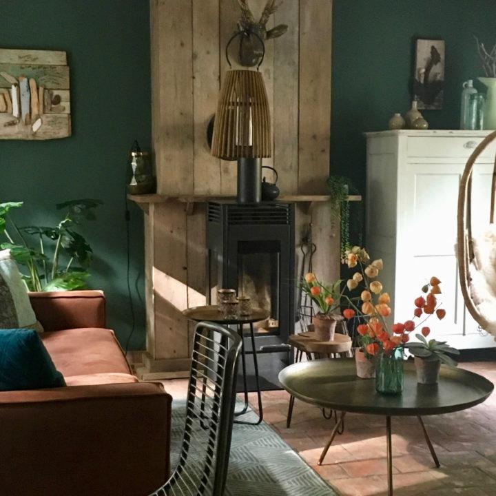 Woonkamer in vakantiehuis met houtkachel, ronde salontafel, bruine bank