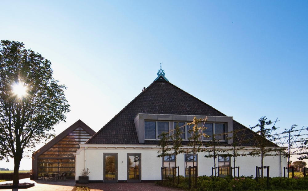 Friese witte stolpboerderij in ochtendlicht