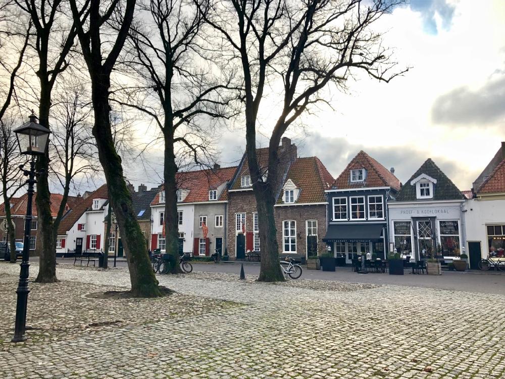 Historische pandjes op een rij aan de Vischmarkt, in Hanzestad Harderwijk