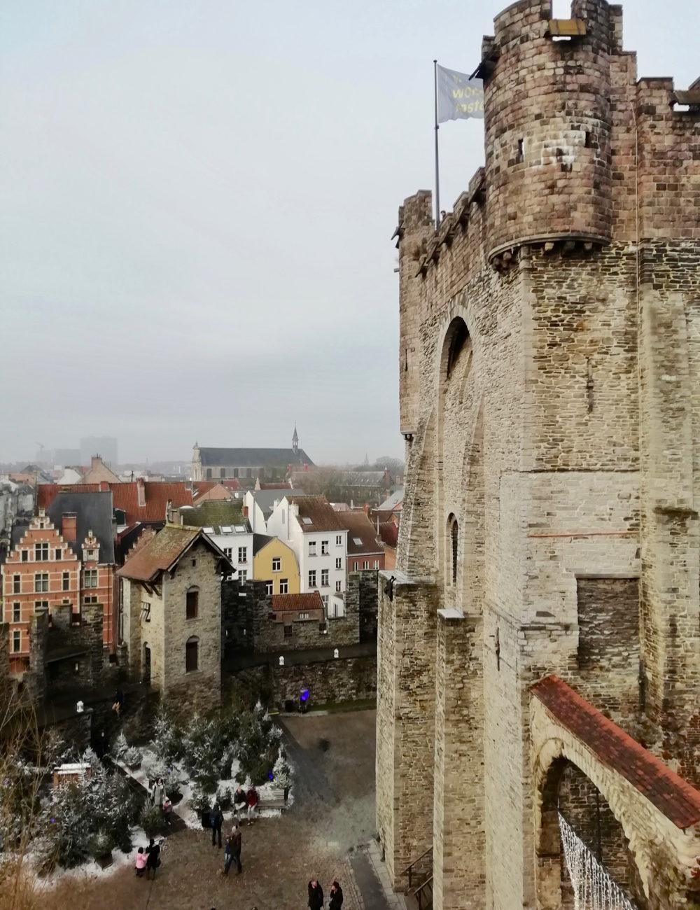 Een van de torens van de burcht in Gent
