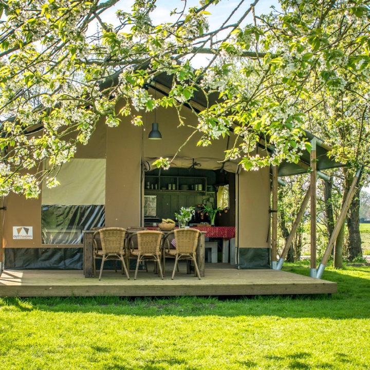 Safaritent van Voedselbron Graauw met veranda met tafels en stoelen