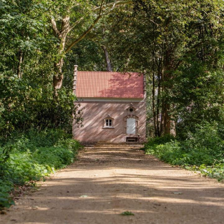 Vakantiehuis aan het einde van een oprijlaan, tussen de bomen