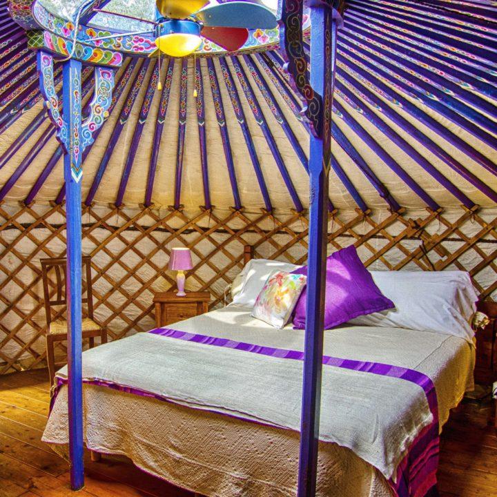 Kleurrijk interieur van een yurt, met paarsblauw balken en een opgemaakt bed