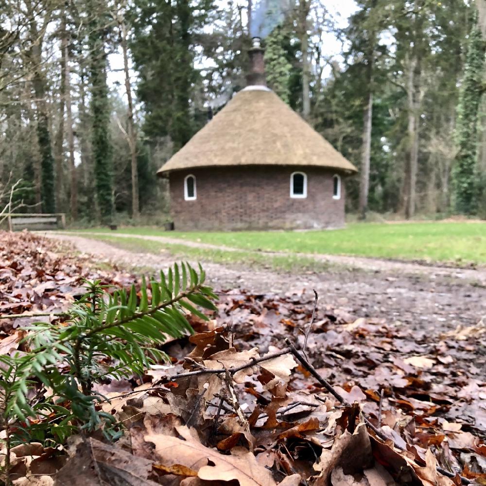 Stapel bladeren met erachter een rond vakantiehuisje met rieten dak