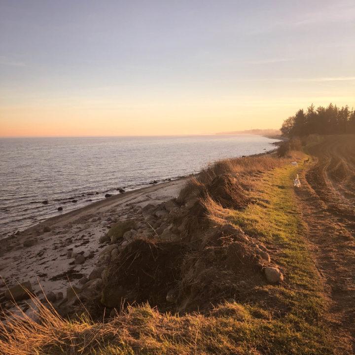 Strand in Denemarken bij zonsondergang