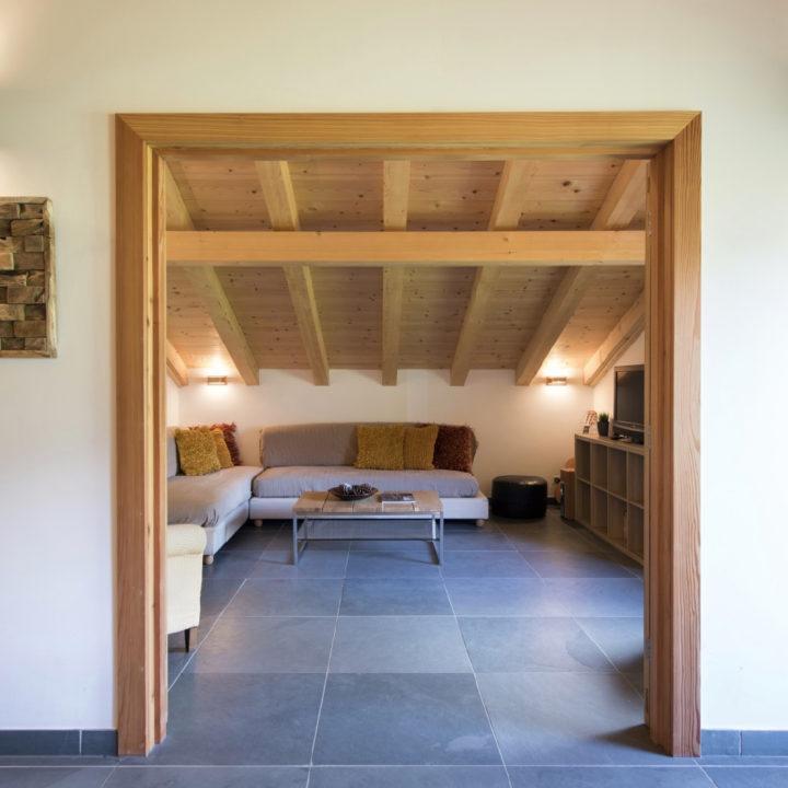 Woonkamer met grijze bank onder schuin dak