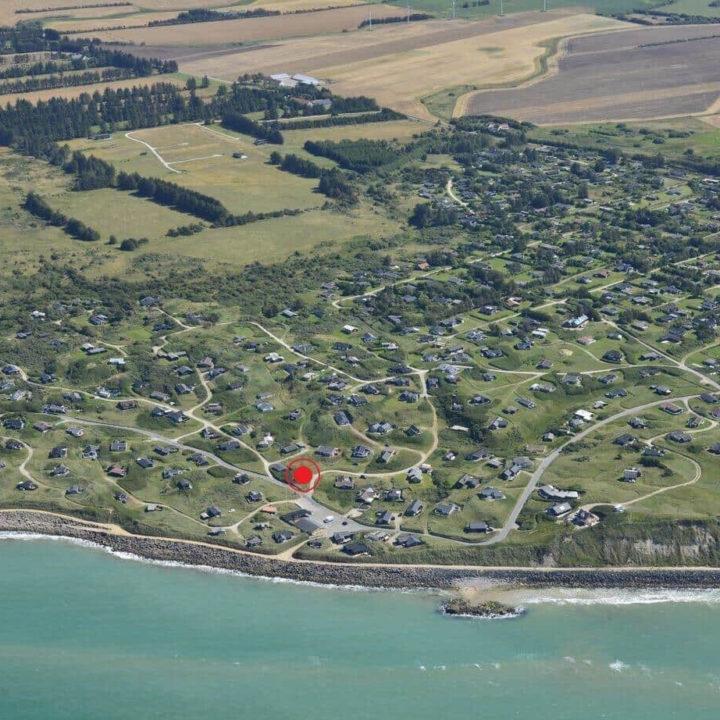 Luchtfoto met locatie vakantiehuis omcirkeld