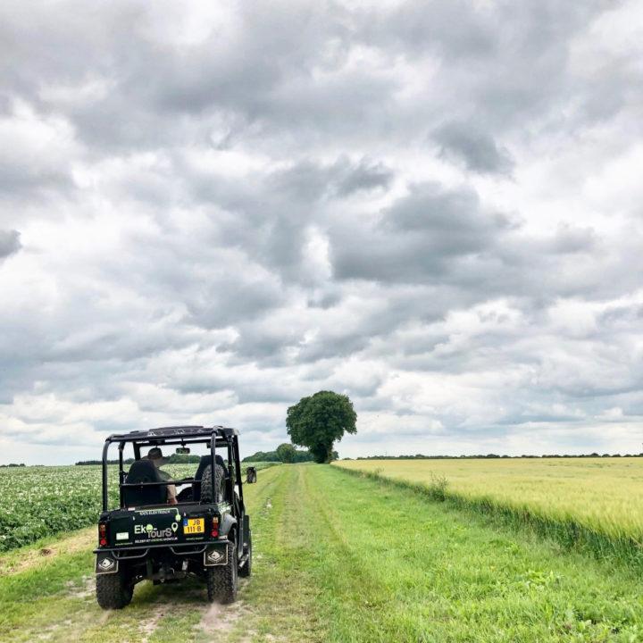 Terreinwagen op landweggetje met 1 boom aan de horizon