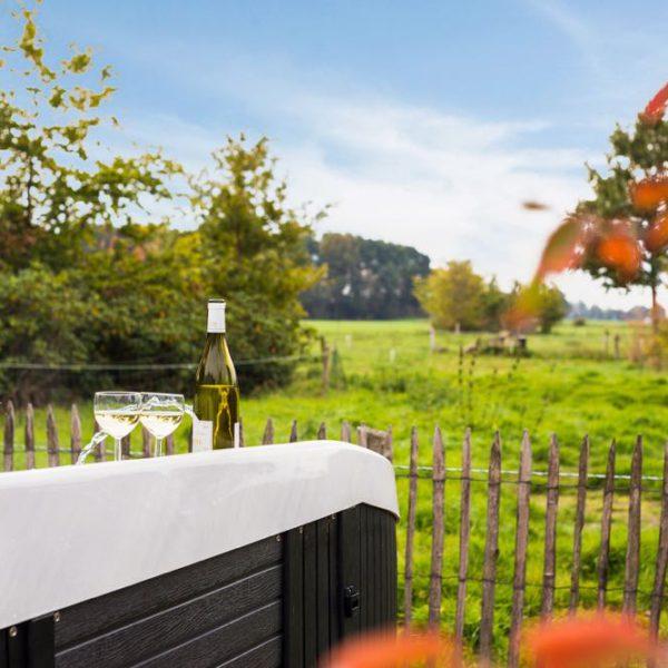 Jacuzzi met uitzicht over weilanden. Op de rand een fles witte wijn en wijnglazen