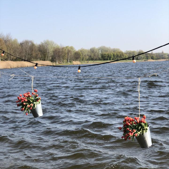 Zinken emmers gevuld met rode tulpen aan een lampjesslinger boven het water