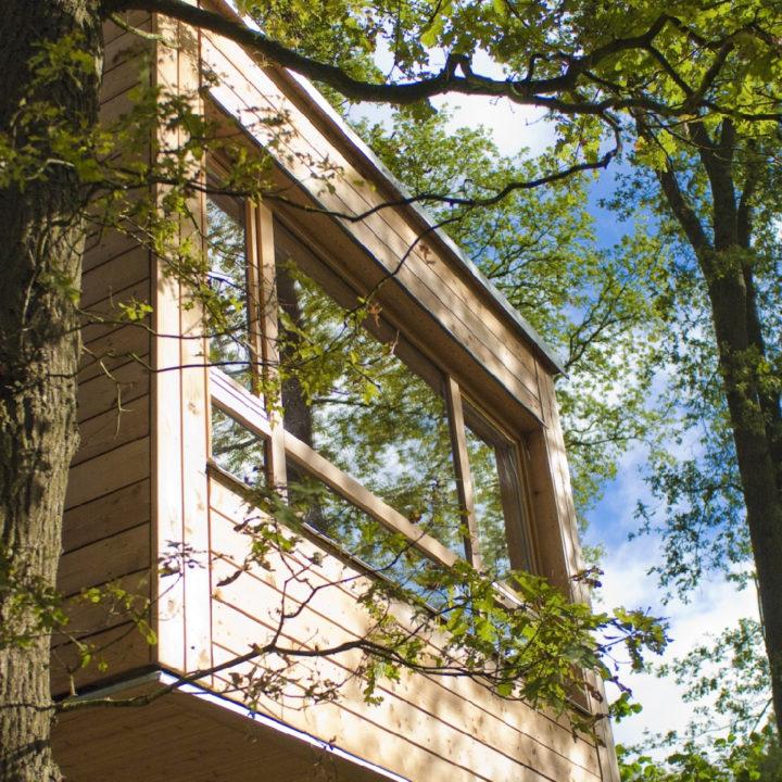 Design boomhut tussen de bladeren