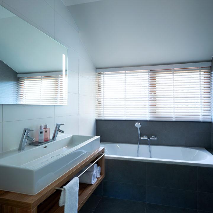 Badkamer met wastafel en ligbad