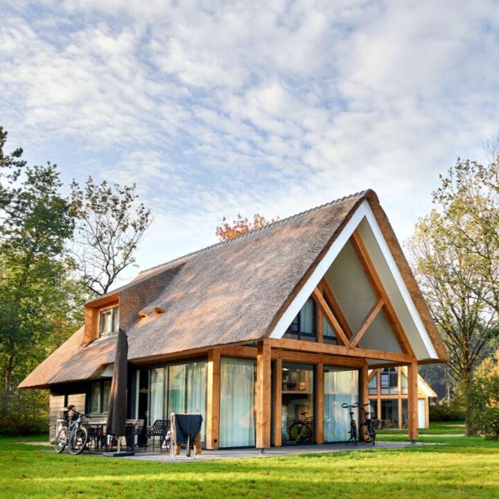 Rietgedekte grote villa van Landal in Drenthe