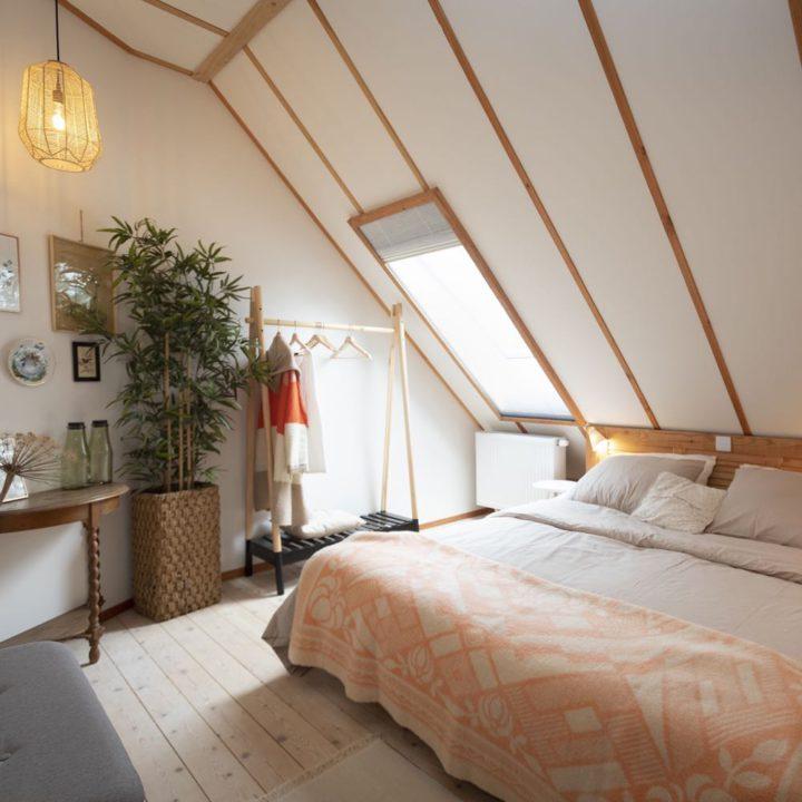 Slaapkamer in het Drentse boerderijtje