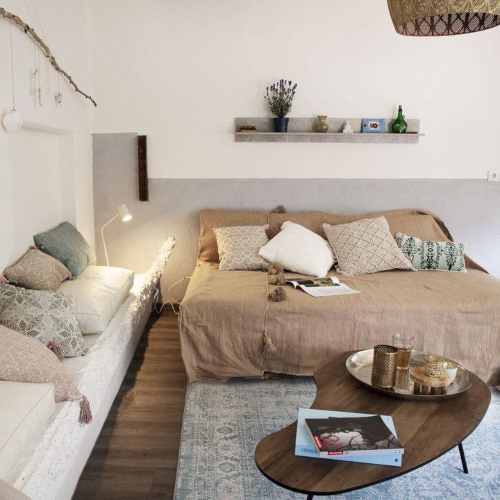 Zithoek met loungebank en muurbank