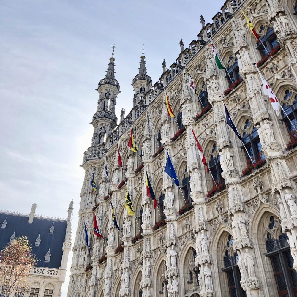 De bijzondere gevel van het Stadhuis in Leuven