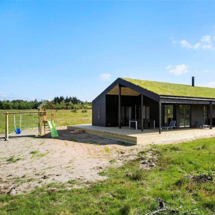 Een zwart huisje met een dak van gras, in het open met een speeltuintje er naast