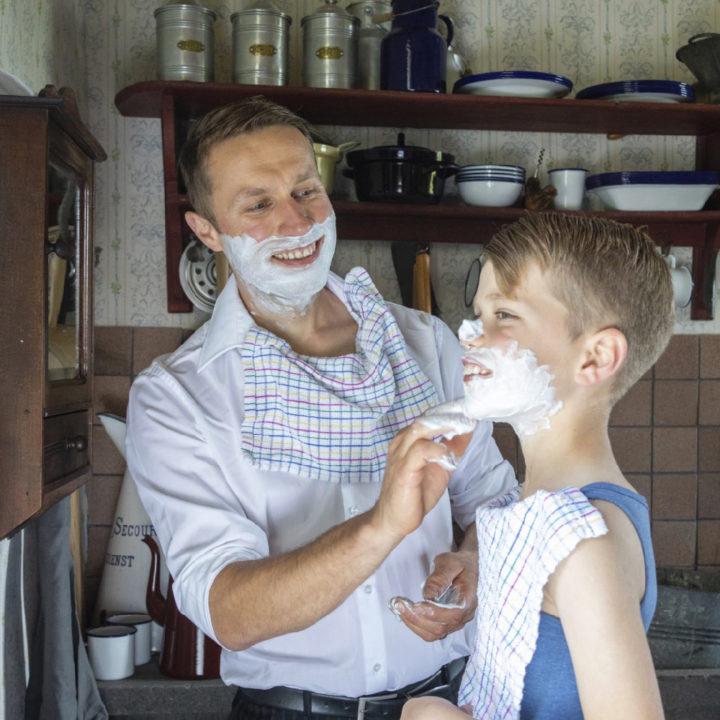 Ouderwets scheren met zeep