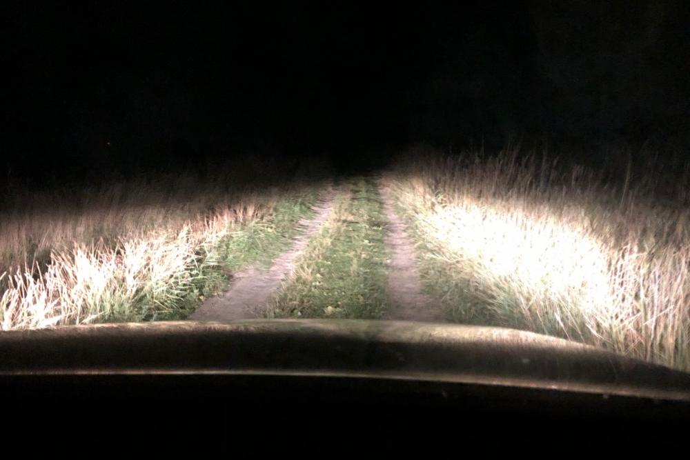 In de auto in het donker