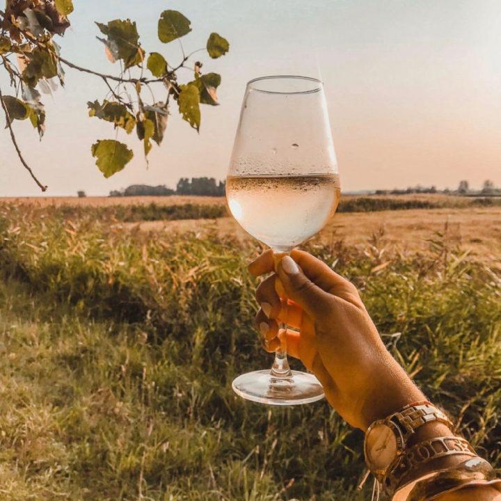 Glas wijn in de avondzon