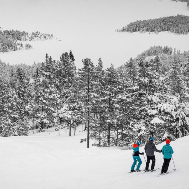 Skiërs in de sneeuw