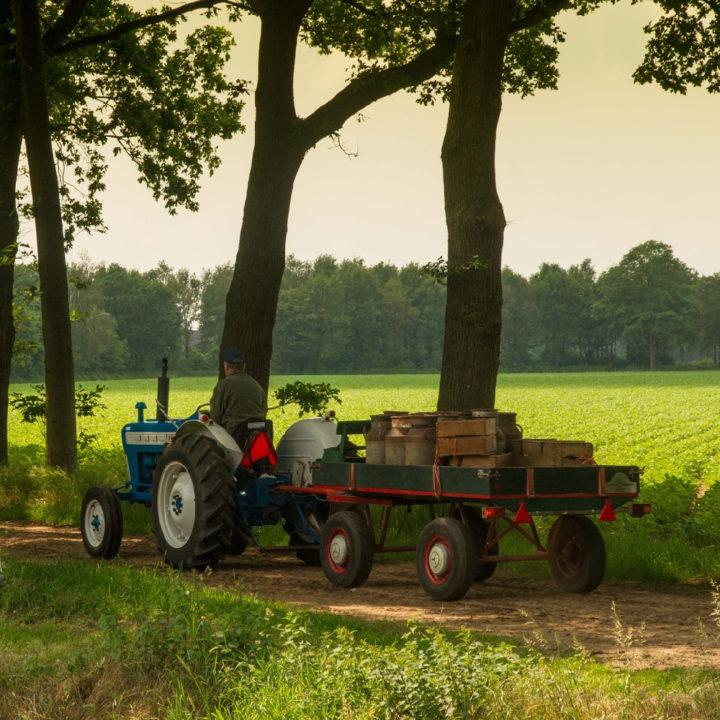 Tractor op een landweg met een aanhanger met melkflessen