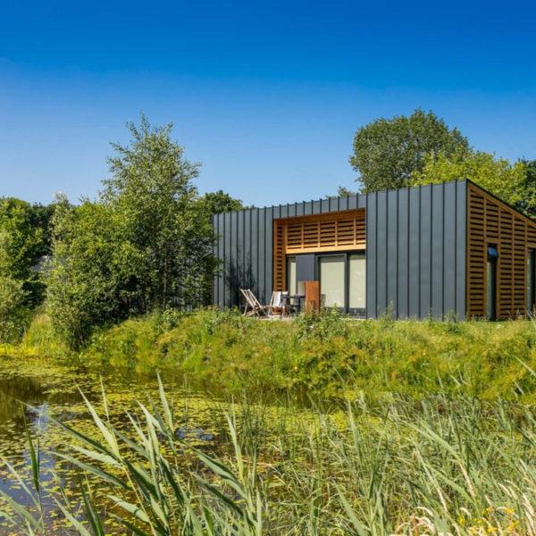 Design huis aan het water op het park
