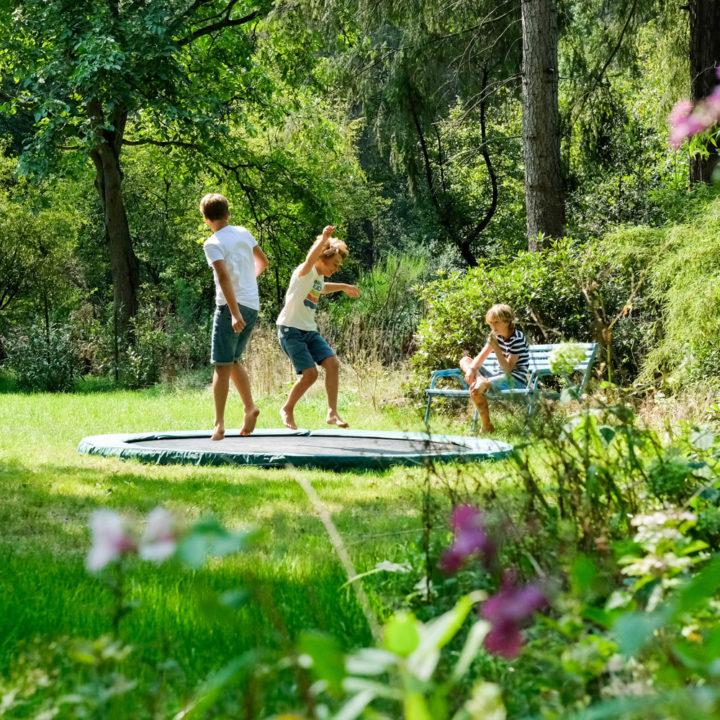 Tuin met trampoline bij het boshuis