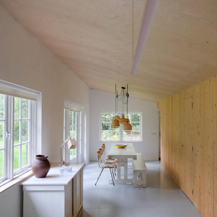 Lange woonkamer met eettafel