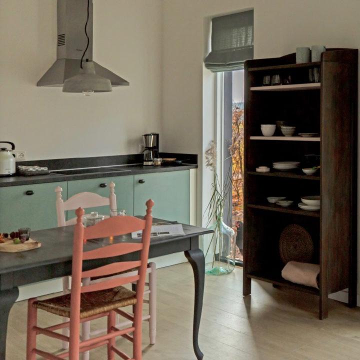 Eettafel met rode en roze stoel, mintgroene keuken