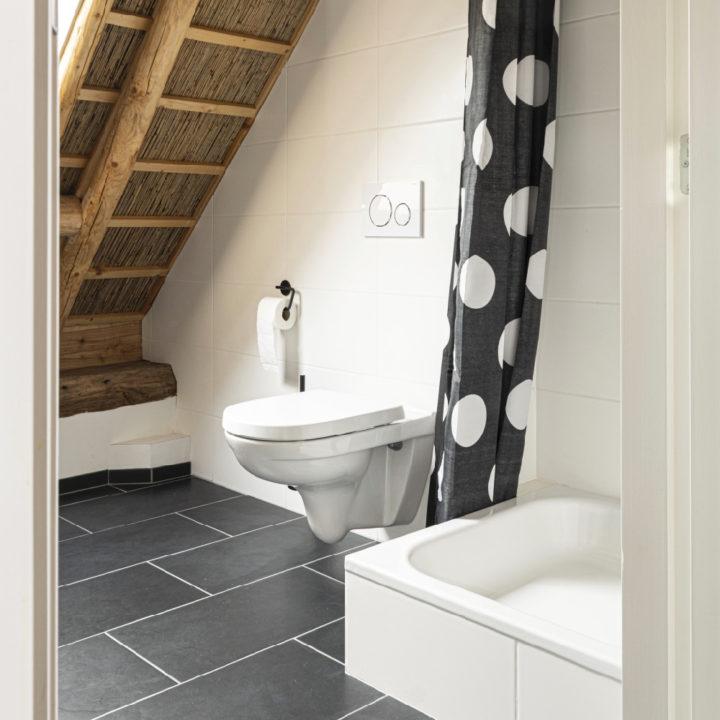 Nieuwe badkamer met wit en grijze tegels