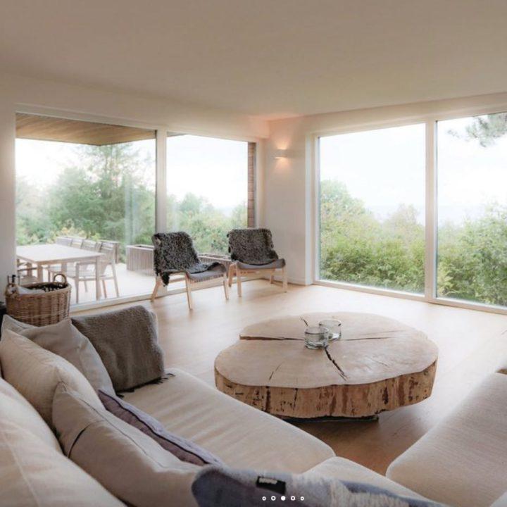 Scandinavische woonkamer met metershoge ramen