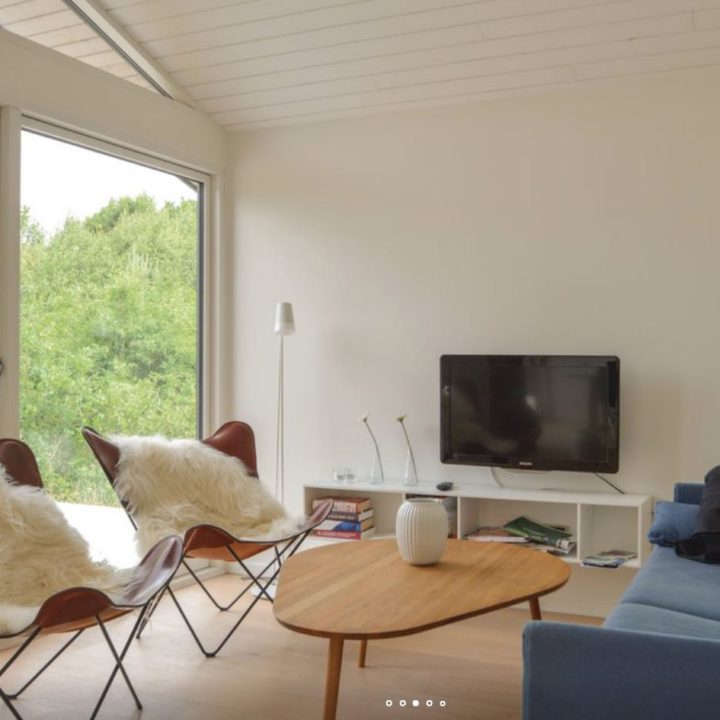 Woonkamer met tv, vlinderstoelen en blauwe bank