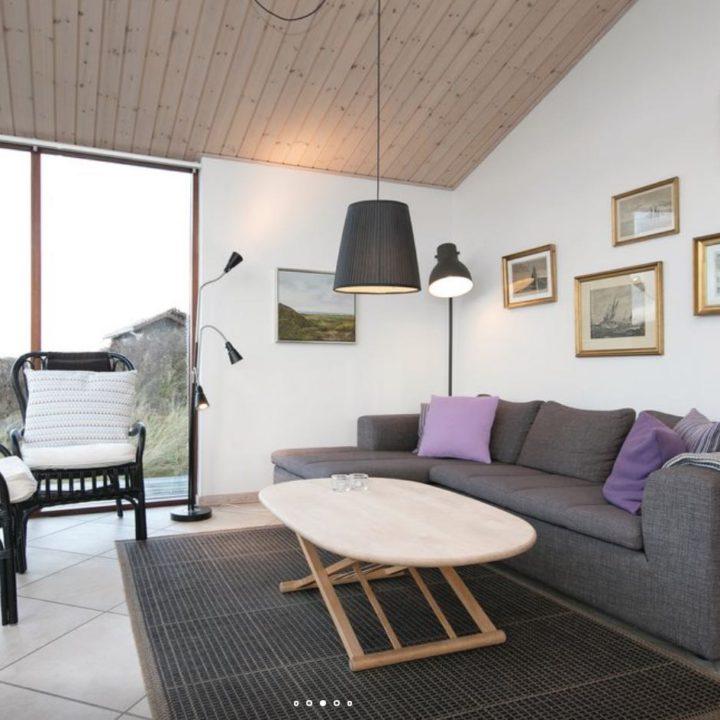 Woonkamer met grijze bank met paarse kussens in het vakantiehuis
