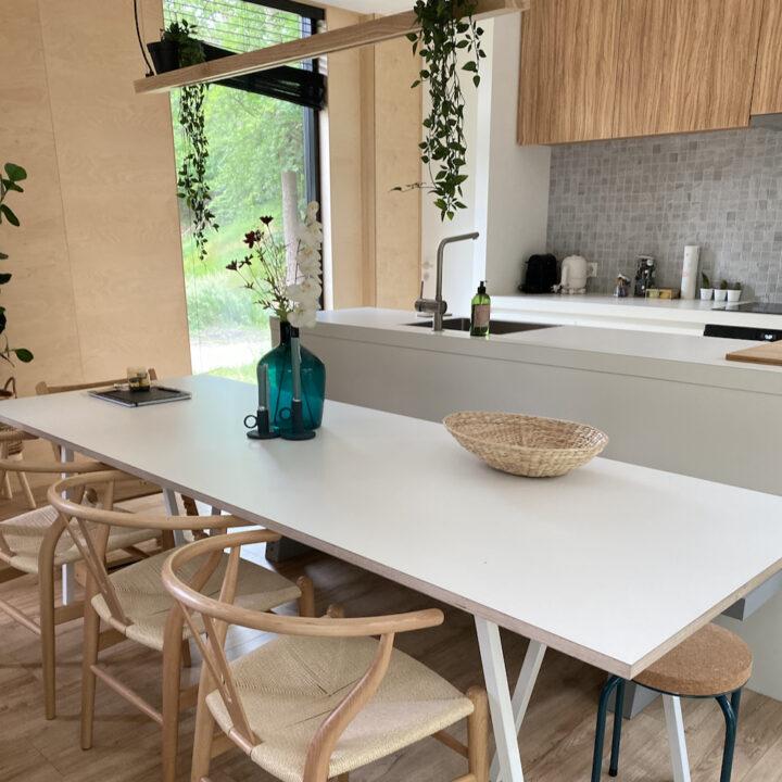 Design eetstoelen in een vakantiehuis in het bos