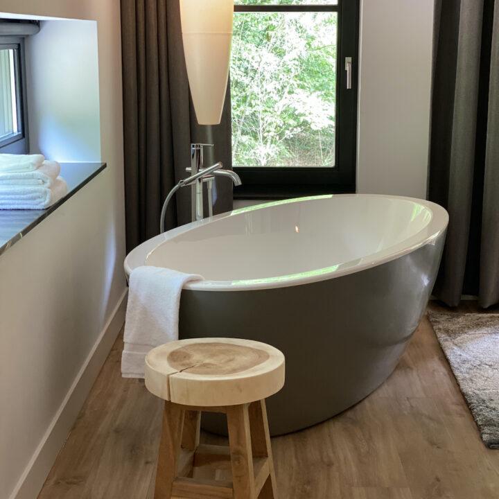 Hotelkamer en bad met zicht op natuur