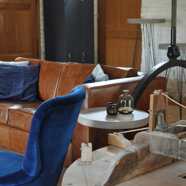 Authentieke details van de molen naast een modern interieur