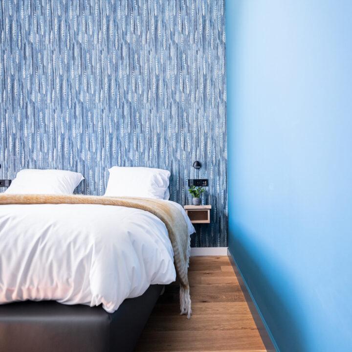 Blauwe slaapkamer in de studio