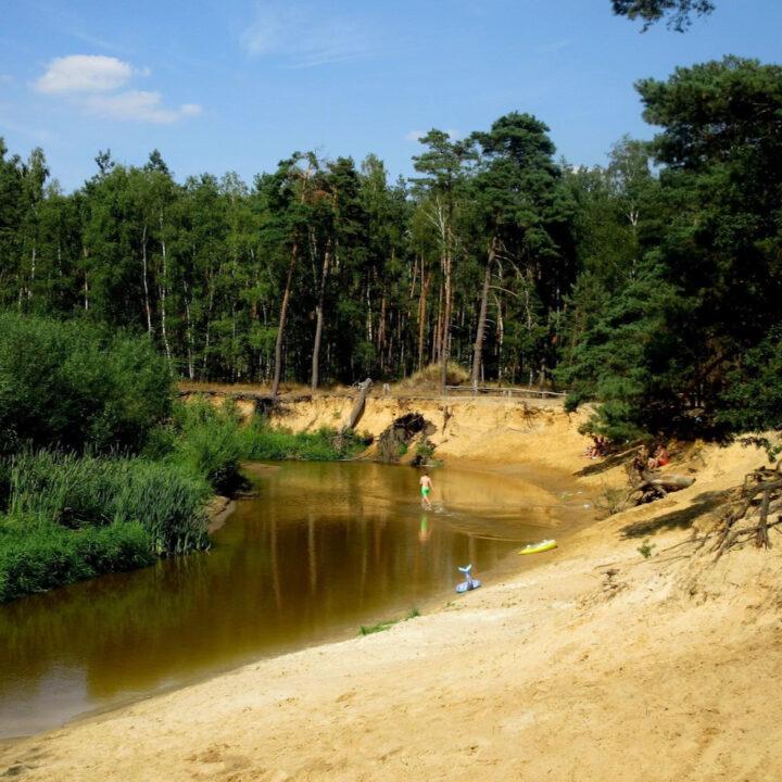 Rivier de Dinkel met strandjes