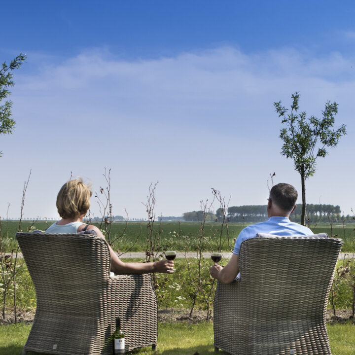 Uitzicht over de polders bij het vakantiehuis in Zeeland