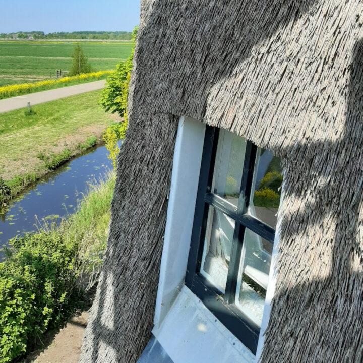 Bovenraam van de poldermolen met zicht op de weilanden