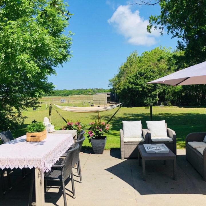 Terras van het vakantiehuis met een hangmat in de tuin