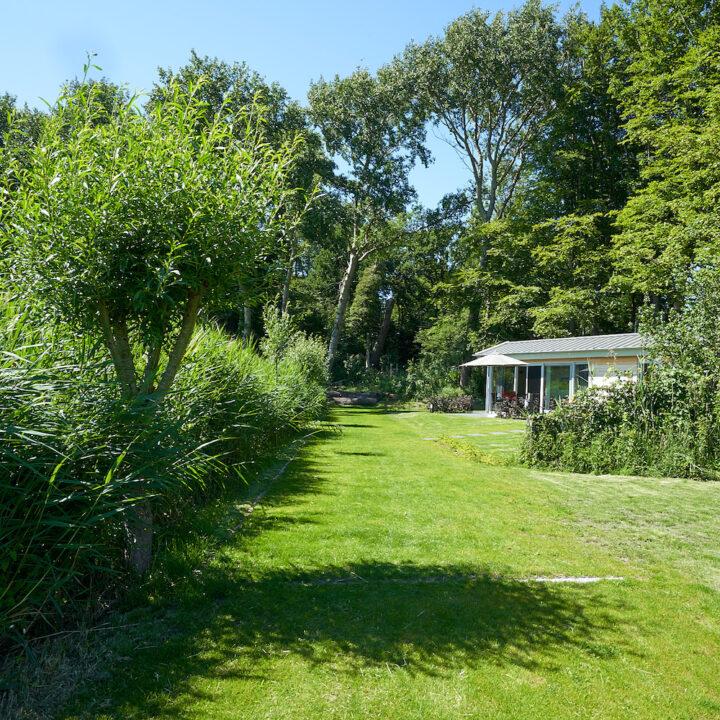 Vakantiehuis in de natuur, omringd door groen