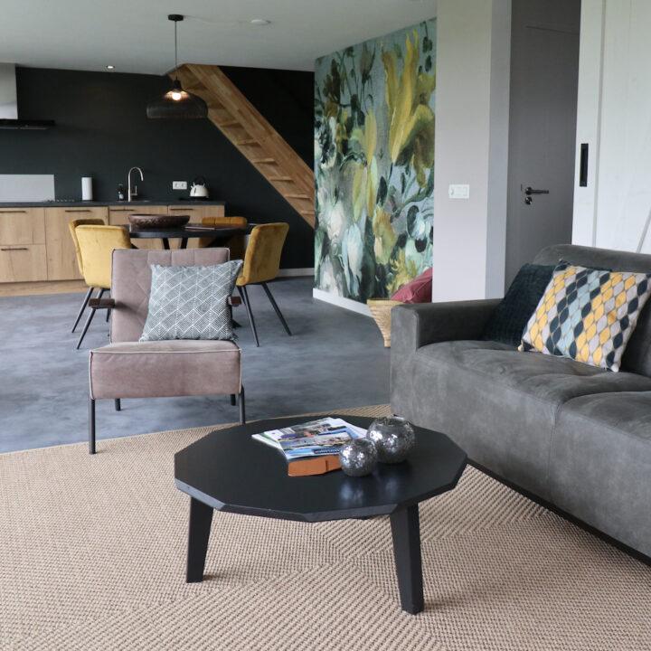 Zitbank en fauteuil in het vakantiehuis de Sierkip