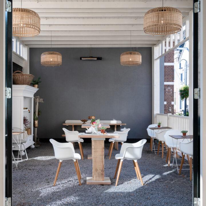 Overdekt terras boutique hotel de Stadsherberg
