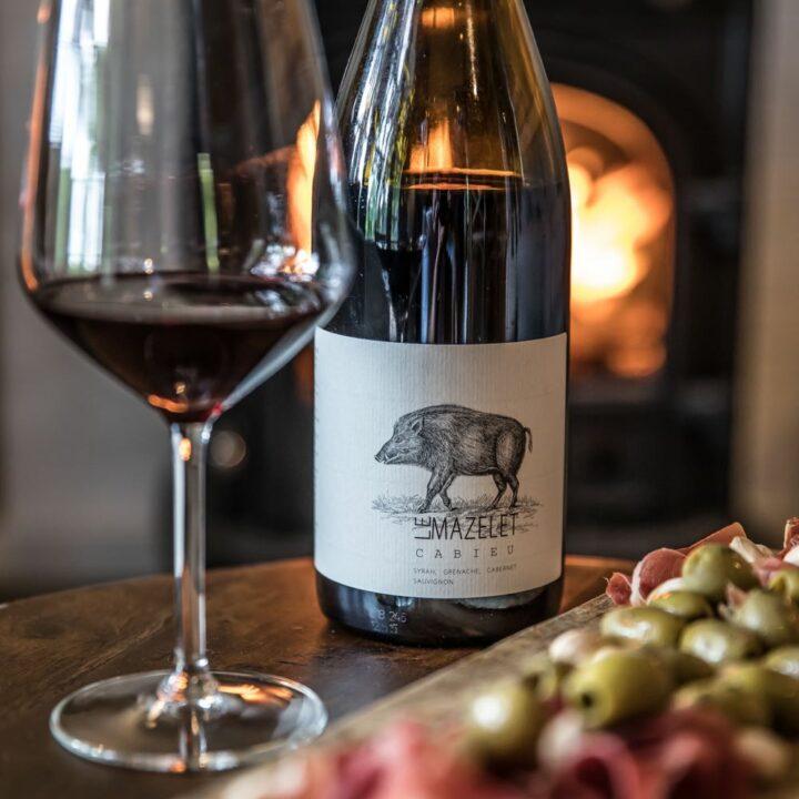 Wijnfles met wijnglas bij de haard