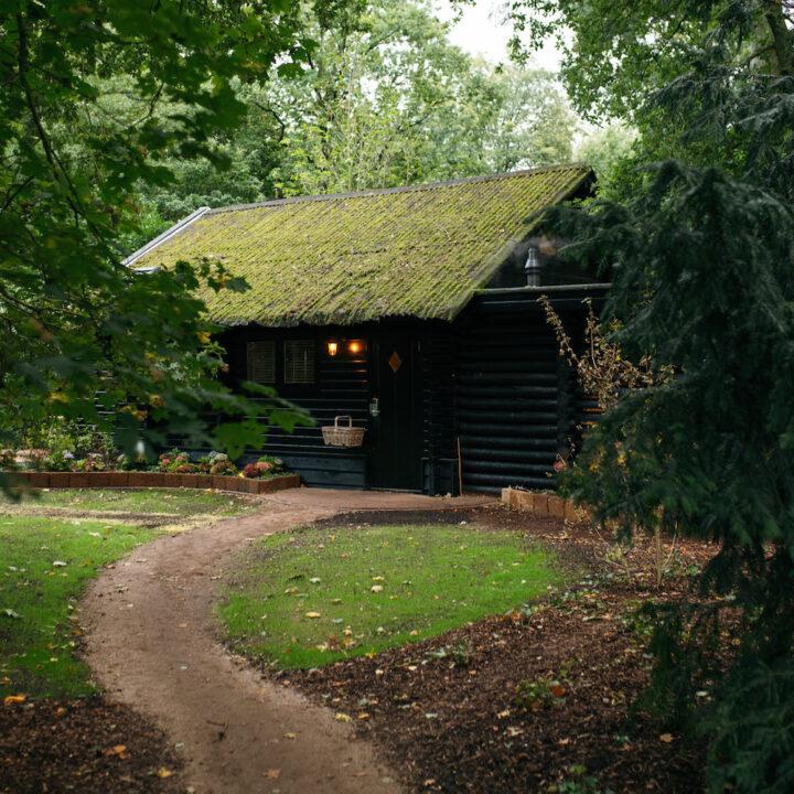 Zwart houten boshuis bij de Cantharel in Apeldoorn