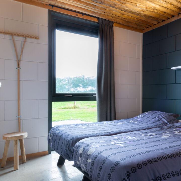 Slaapkamer met twee bedden met blauwe beddengoed